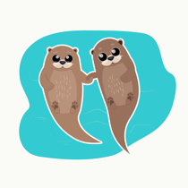 cuddle party otters illustration