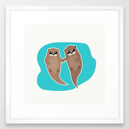 cute-otters-cuddle-party-framed-prints