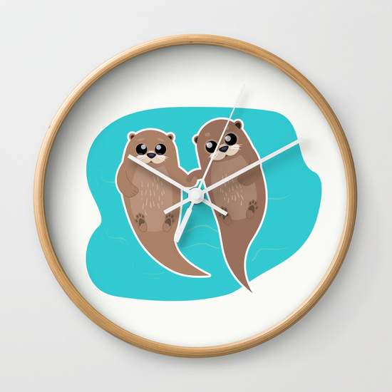 cute-otters-cuddle-party-wall-clocks