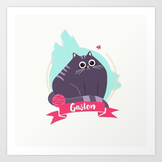 goodie mood illustration chat Gaston art print