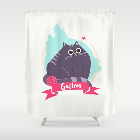 goodie mood illustration chat Gaston rideau de douche