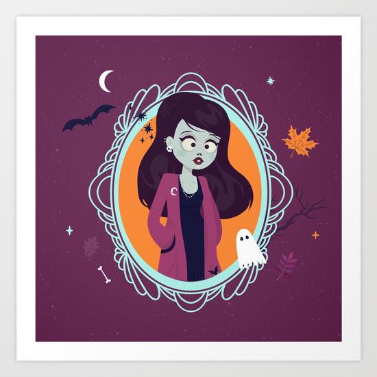 halloween zombie girl illustration society6 - poster