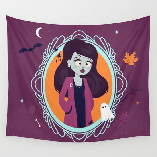 halloween zombie girl illustration society6 - voile