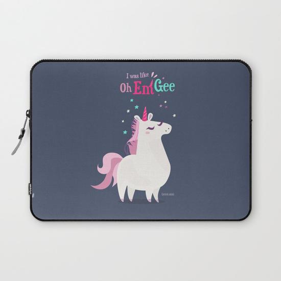 illustration licorne laptop pochette ordinateur