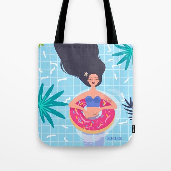 sac tote bag illustration fille piscine été