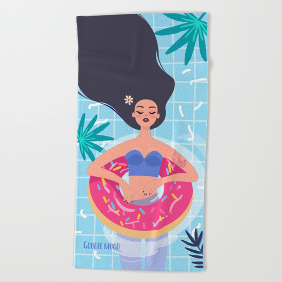 serviette de plage illustration fille piscine été