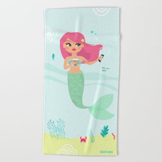 sirène illustration serviette de plage