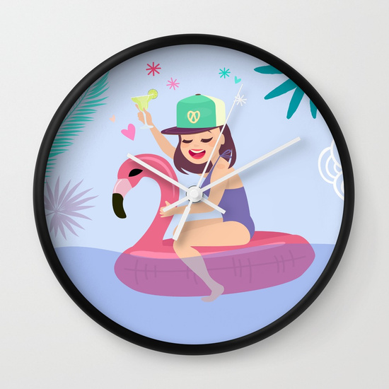 horloge illustration fille vacances