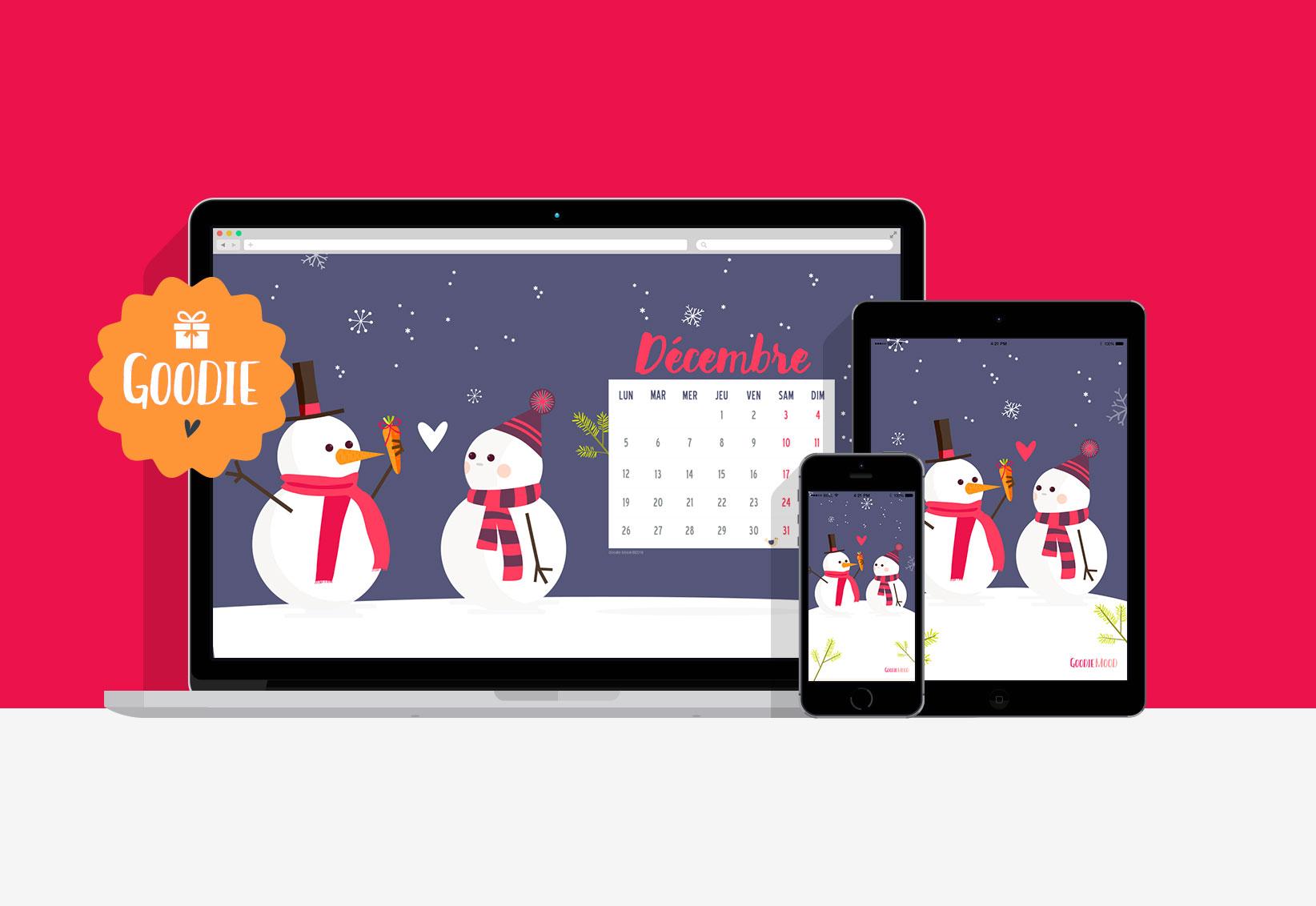 wallpaper calendar decembre christmas fond d'ecran noel goodie mood