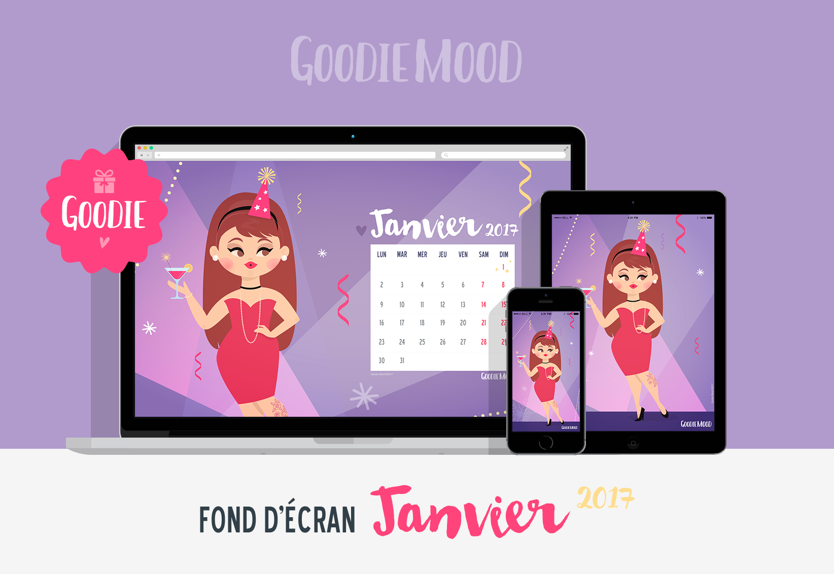 calendrier janvier 2017 illustration goodie mood