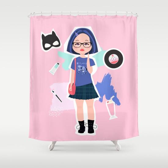 enid ghost world fan art society 6 shower curtain