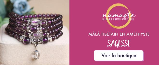 bijoux en pierres naturelles - Mala en Améthyste - Boutique Namasté