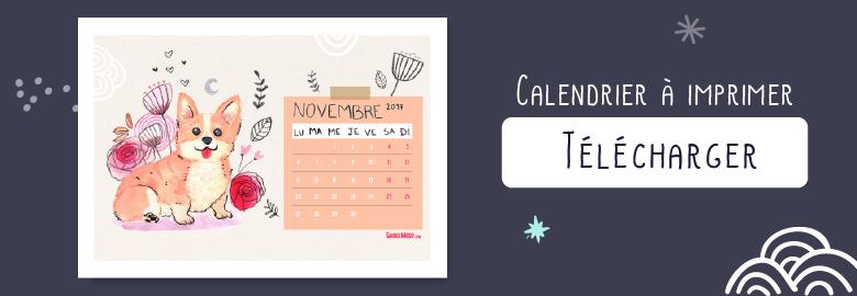 imprimer illustration corgi calendrier novembre 2017