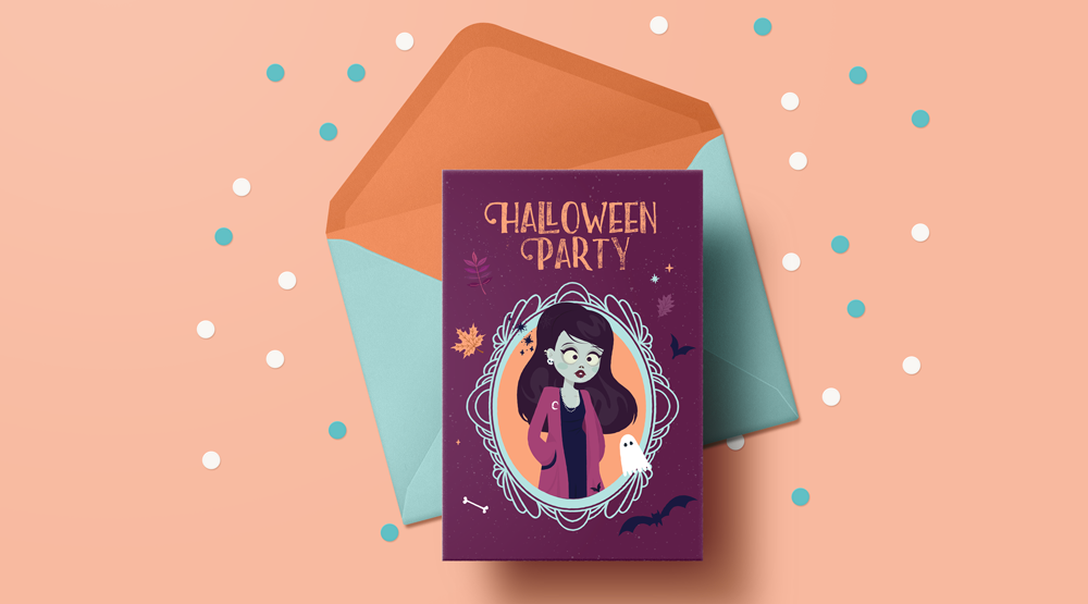 cartes d'halloween gratuites à telecharger et imprimer illustration zombie girl