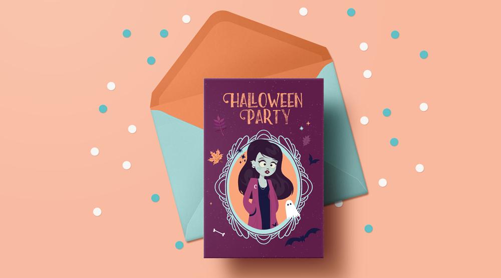 cartes d'halloween gratuites à telecharger et imprimer illustration zombie girl