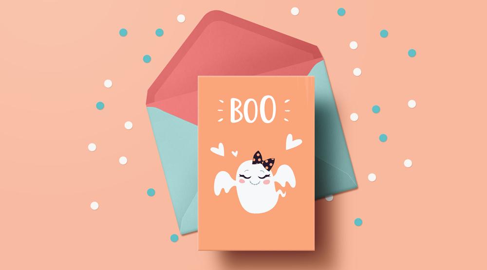 cartes d'halloween gratuites à telecharger et imprimer fantome lovely