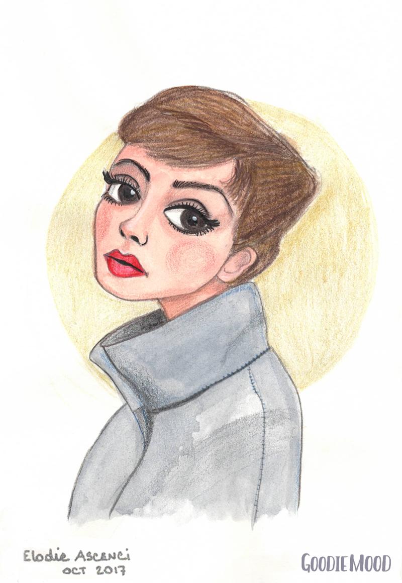 illustration d'Audrey Hepburn à l'aquarelle et aux crayons de couleurs