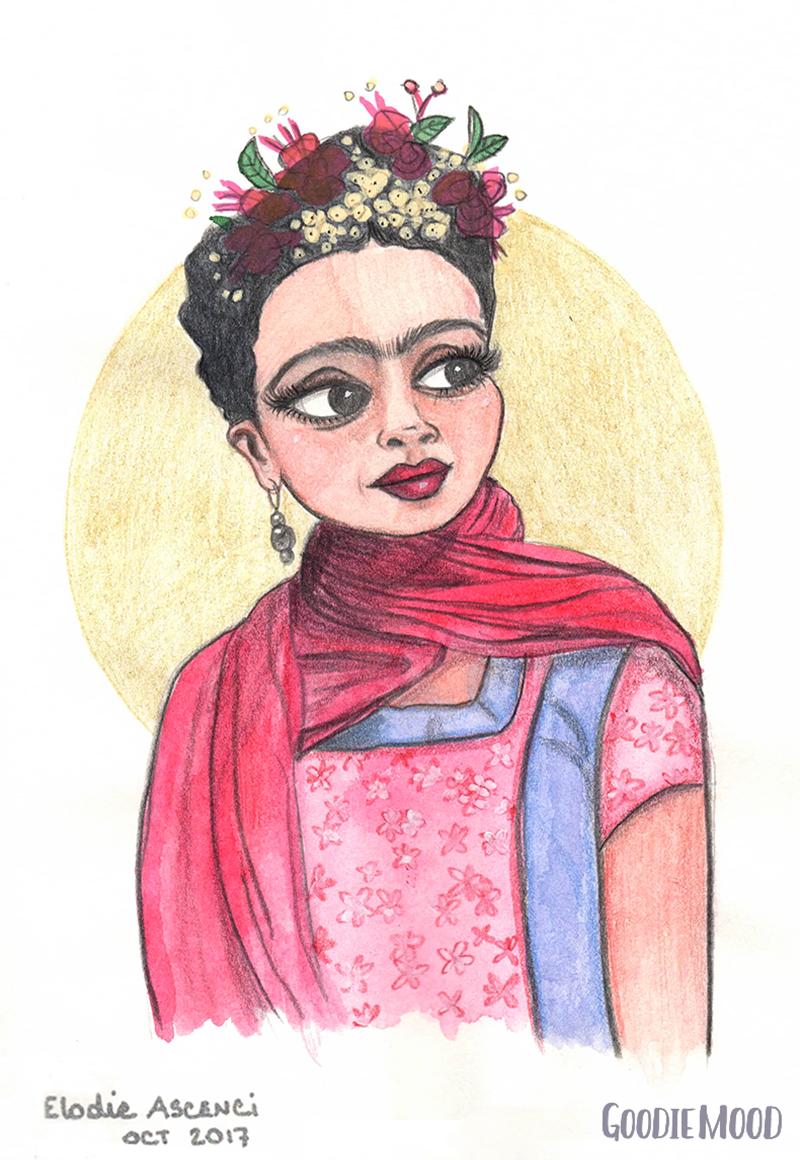 illustration portrait de Frida Kahlo à l'aquarelle et aux crayons de couleurs