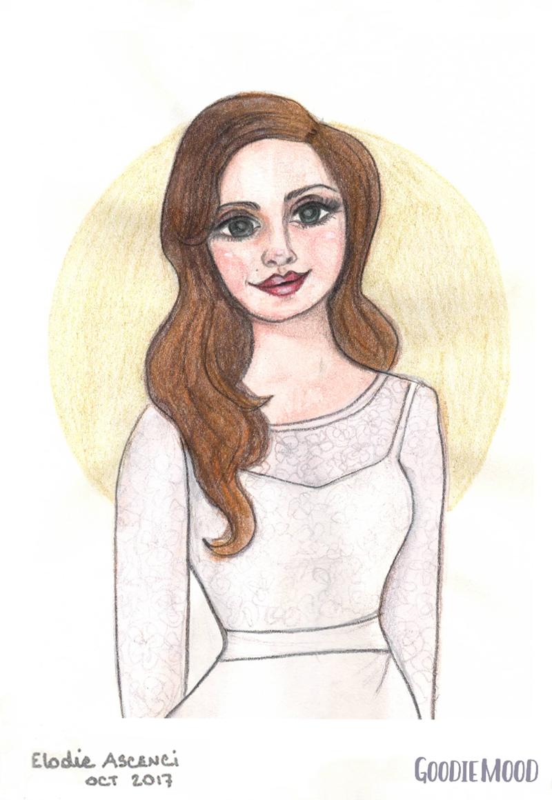 illustration portrait de Lana del Rey à l'aquarelle et aux crayons de couleurs