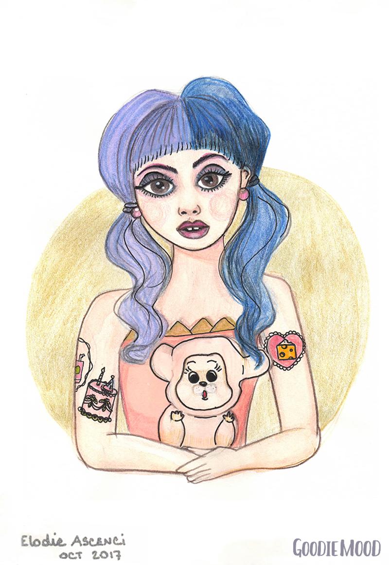 illustration de Melanie Martinez à l'aquarelle et aux crayons de couleurs