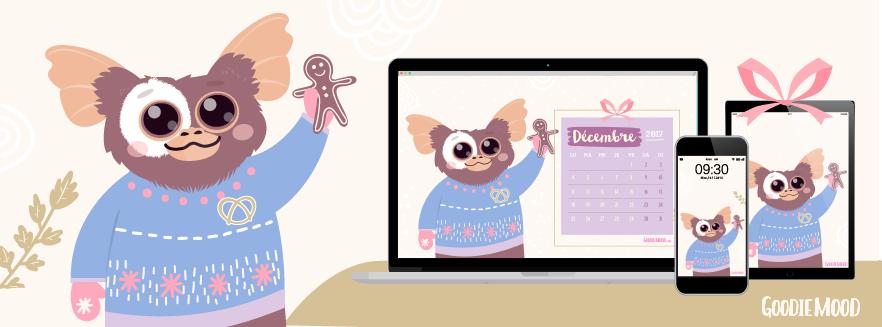Fond d'écran illustré Guizmo pour Décembre 2017