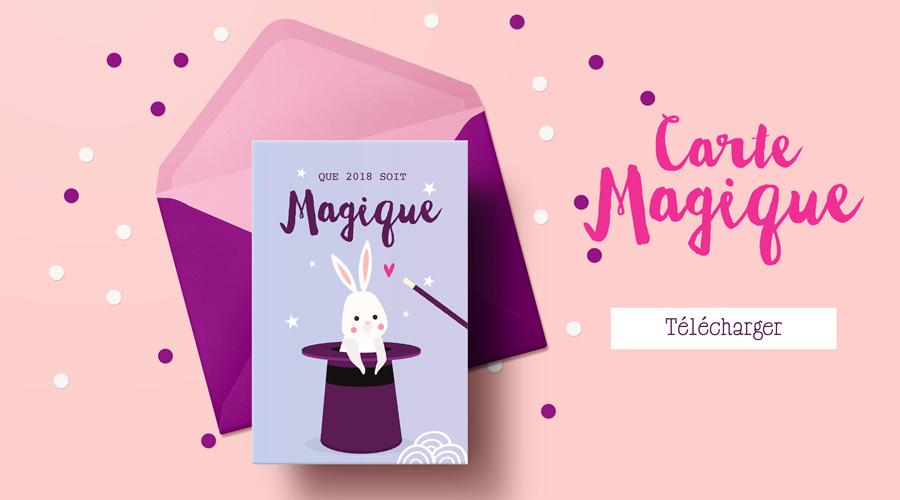 carte de fêtes 2018 à imprimer - illustration lapin magique