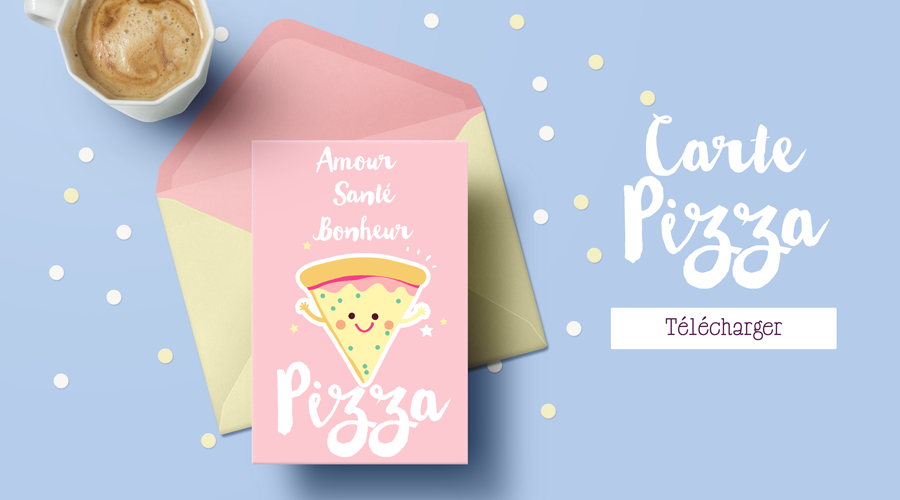carte de fêtes 2018 à imprimer - illustration Fun Pizza
