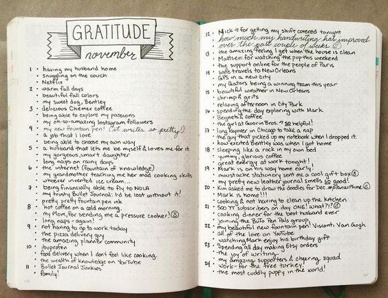 idée de liste de gratitudes sur Pinterest
