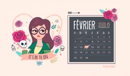 Calendrier février 2018 - Daria et St Valentin - gratuit à imprimer