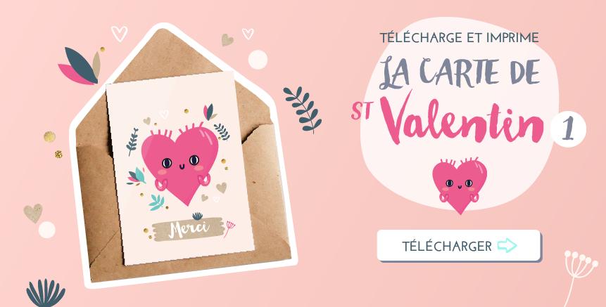 Carte gratuite de St Valentin à imprimer - Amour