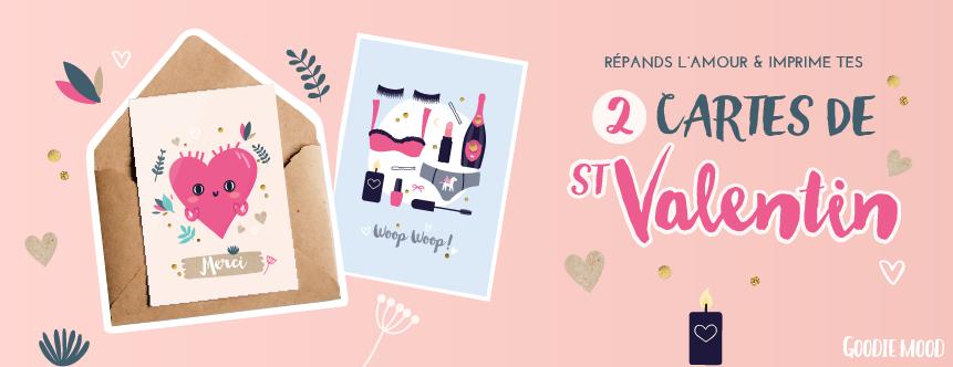 télécharge et imprime 2 cartes gratuites de St Valentin