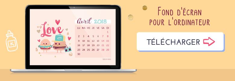 Fond d'écran / calendrier pour avril 2018 sur le thème des Burgers amoureux ! Télécharger le fond d'écran pour odinateur