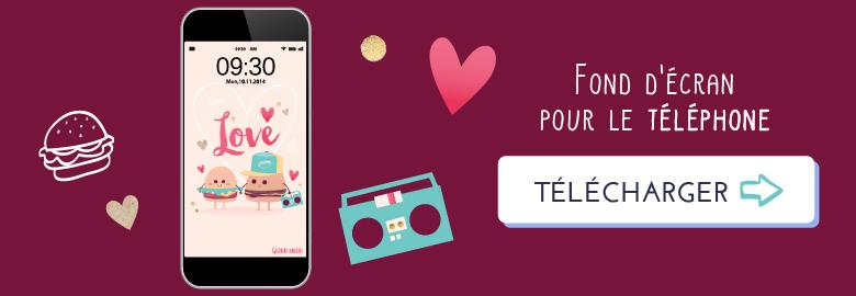 Fond d'écran / calendrier pour avril 2018 sur le thème des Burgers amoureux ! Télécharger le fond d'écran pour téléphone
