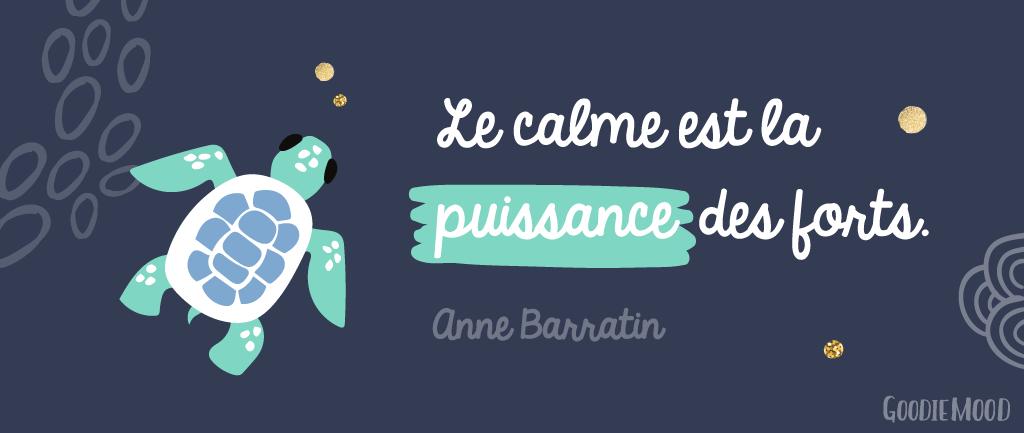 """Citation - """"Le calme est la puissance des forts"""" - Anne Barratin"""
