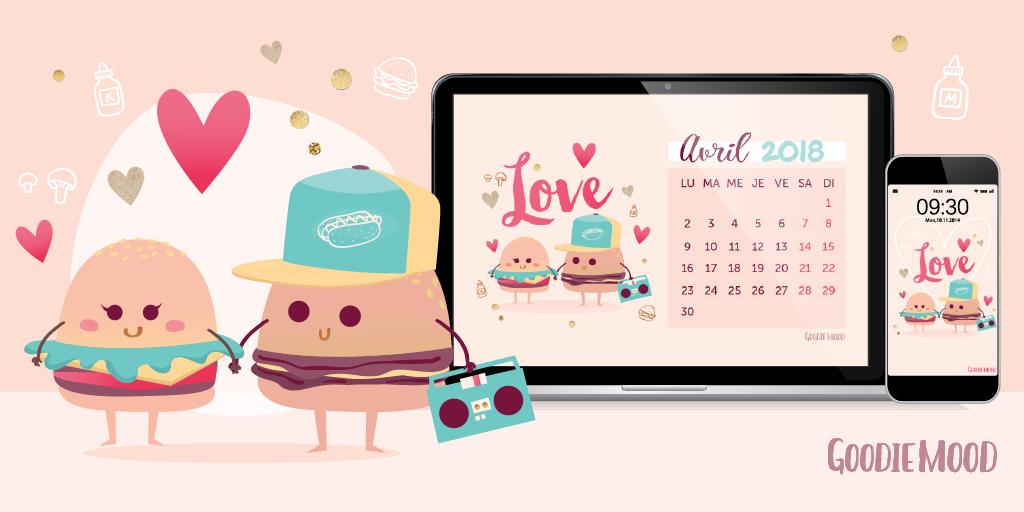 calendrier et fond d'écran pour avril 2018 - illustration de 2 burgers amoureux