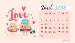 calendrier et fond d'écran pour avril 2018 (vignette)