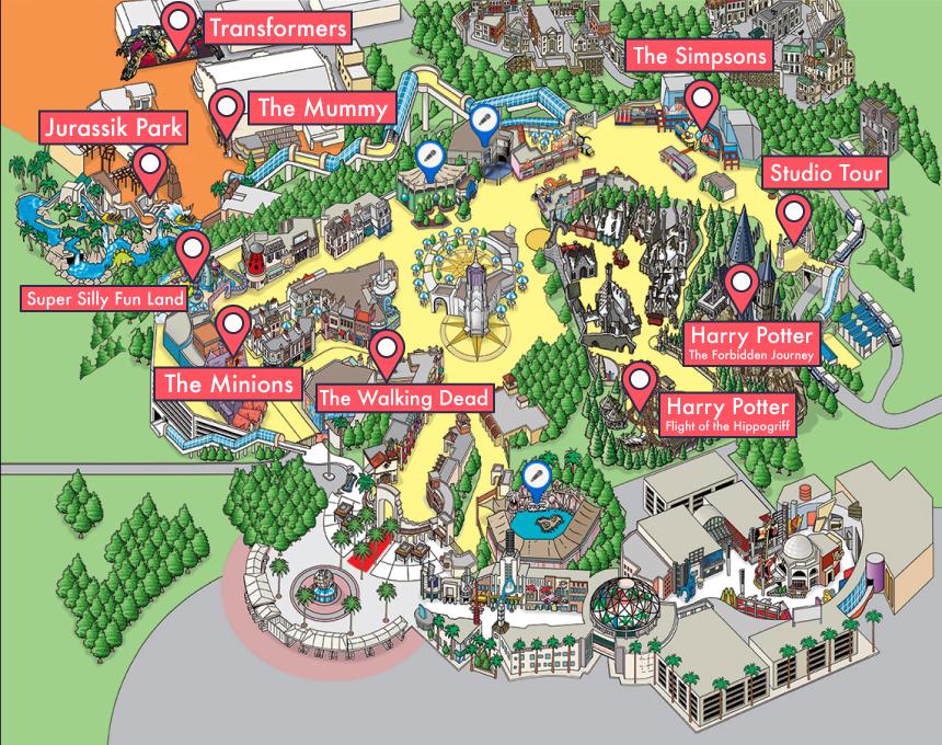 🌴Une journée à Universal Studios d'Hollywood ! Plan du parc. Sur Goodie Mood, le blog Feel Good d'une française expatriée à Los Angeles. #universalstudios #hollywood #californie #expat #LosAngeles #Attraction #Parc #HarryPotter #JurassikPark