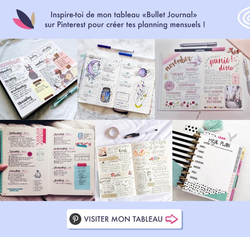 """Inspire-toi de mon tableau """"Bullet Journal"""" sur Pinterest !"""