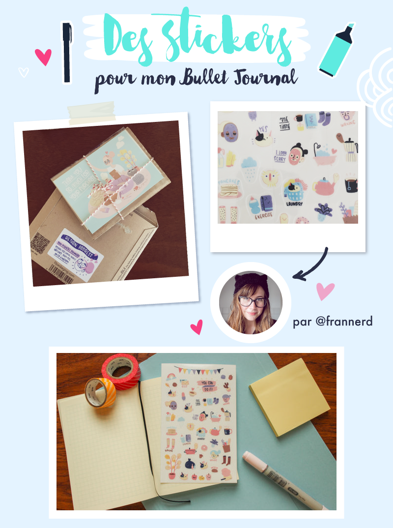 Stickers pour Bullet Journal from Frannerd - Goodie Mood - Merci pour les 50 cafés via le service de don KO-FI !