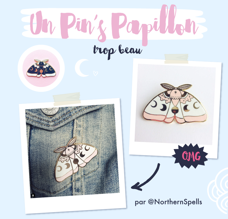 Moth Papillon pin'S par Northerm Spells sur Etsy - Goodie Mood - Merci pour les 50 cafés via le service de don KO-FI !