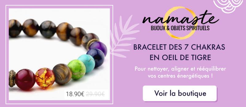 Bracelet des 7 Chakras en Oeil du Tigre sur la boutique NAMASTE - Bijoux et objets spirituels