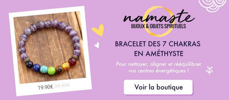 Bracelet des 7 Chakras en Améthyste sur la boutique NAMASTE - Bijoux et objets spirituels