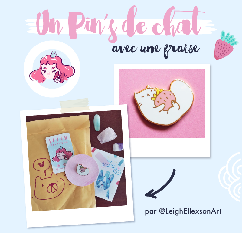 Pins Cat & Strawberry from Leigh Ellexson Art - Goodie Mood - Merci pour les 50 cafés via le service de don KO-FI !