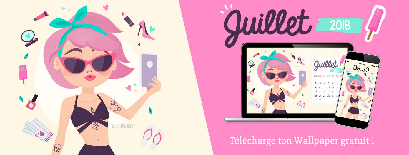 🌸Télécharge GRATUITEMENT ton wallpaper / calendrier pour Juillet 2018 avec Angelina qui se prend en selfie ! Pour #desktop #iphone #ipad #tablette Sur Gooie Mood, le blog Feel Good et Créativité 🦄 #design #wallpaper #calendrier #goodie #selfie #cadeau #Printable #bulletjournal #illustration #designgraphique #creativite #inspiration #illustration #girl #pinkhair