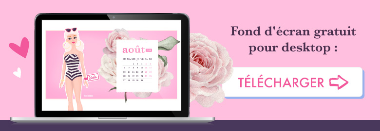 💗 Télécharge gratuitement ton wallpaper BARBIE pour août 2018 pour ton ordinateur ! ⭐️ Sur Goodie Mood, le blog Feel Good et Créativité #Barbie #poupee #doll #illustration #dessin #vector #designGraphique #wallpaper #calendrier #aout #rose #fleur #cute #blog #gratuit #goodie #cadeau #inspiration #sourire #vintage #collage #composition