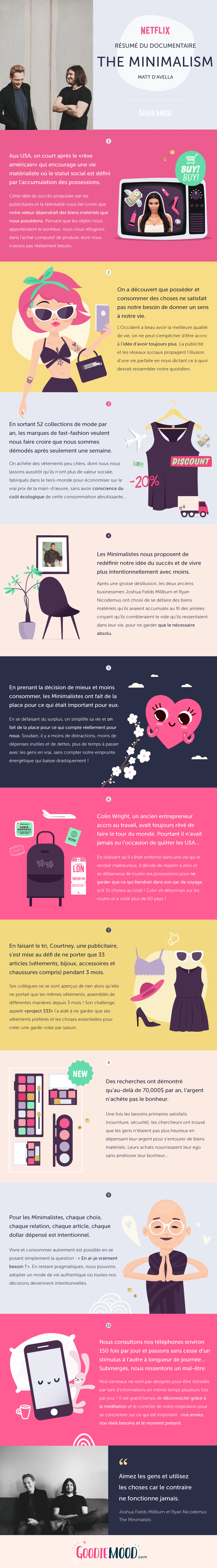 "📺 Changeons notre définition du succès et apprenons à consommer intentionnellement grâce aux Minimalistes 🎬 Résumé du documentaire Netflix ""The Minimalism"" de Matt d'Avella sous forme d'infographie sur Goodie Mood, le blog Feel Good et Créativité ⭐️ #minimalism #netflix #minimaliste #minimalisme #documentaire #infographie #graphisme #blog #intention #consommation #succes #changerdevie"