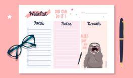 Weeklist à imprimer gratuitement ! #sloth #paresseux #goodie #gratuit