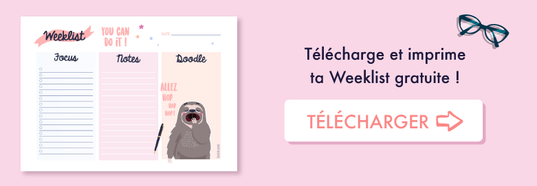 🖋 Imprime et remplis ta Weeklist gratuite pour t'aider à tenir tes objectifs ! ⭐️ Sur Goodie Mood, le blog Feel Good et Créativité ! #weeklist #todolist #goodie #gratuit #cadeau #sloth #paresseux #graphisme #graphicdesign #printable #illustration #cute #adorable #objectif #smart #motivation !