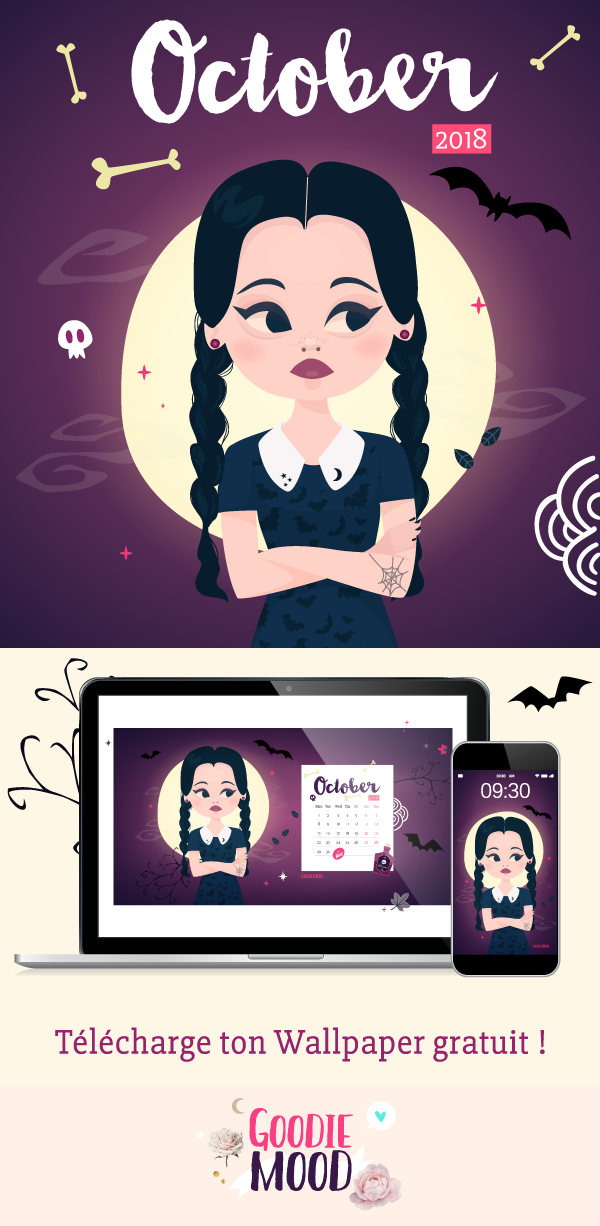 🌙 Télécharge gratuitement ton fond d'écran Mercredi Addams pour Octobre 2018 ! 🖤 Sur Goodie Mood, le blog Feel Good et Créativité 💗 #wallpaper #fonddecran #mercrediaddams #familleaddams #wednesdayaddams #fanart #gratuit #free #printable #90s #nostalgie #lune #graphisme #illustration #pinterest