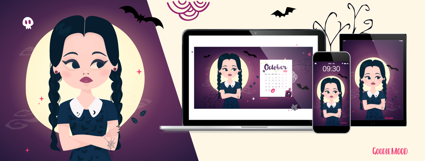 🌙 Télécharge gratuitement ton fond d'écran Mercredi Addams pour Octobre 2018 ! 🖤 Sur Goodie Mood, le blog Feel Good et Créativité 💗 #wallpaper #fonddecran #mercrediaddams #familleaddams #wednesdayaddams #fanart #gratuit #free #printable #90s #nostalgie #lune #graphisme #illustration